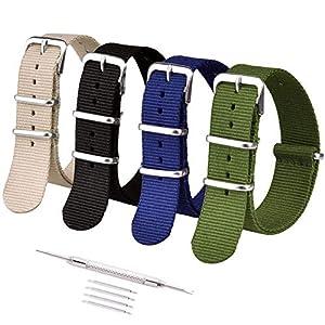 Ritche 16mm 18mm 20mm 22mm 24mm Nato Watch Straps Nylon Replacement Men Women Bands (4 Packs)