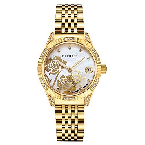 Binlun orologio da polso da uomo placcato oro 18K, automatico/meccanico (Donne d'oro 2)