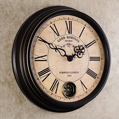 LBBD Reloj de Pared Reloj de Pared Vintage Reloj Creativo de silenciador Creativo de 18 Pulgadas Reloj Redondo clásico Europeo (Size : A)
