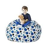 LAZY CALA LIFE Stuffed Animal Bean Bag Storage,Toy Organizers and Storage,Extra Large Stuff 'n Sit Organization for Kids,Boys and Girls,100% Cotton Premium Canvas(Yellow Ripple,27')