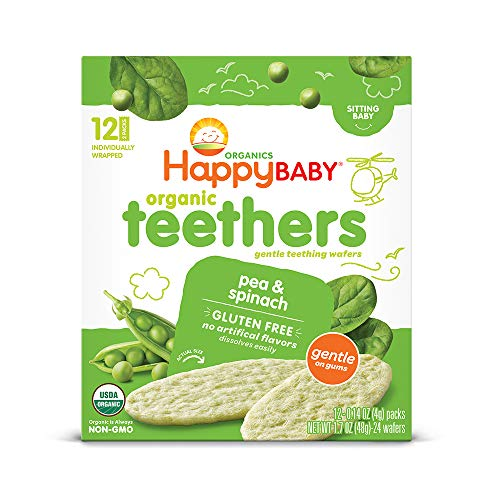 Happy Baby Organics Teether, Pea & Spinach, 12 Count (Pack of 6)