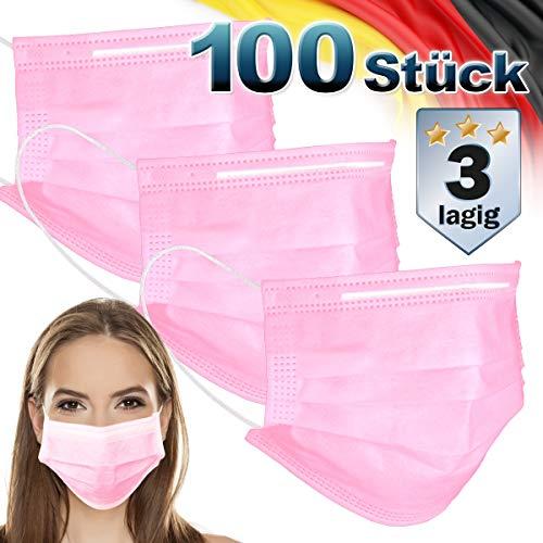 ECD Germany 100 Stück Mundschutz Maske Einweg Gesichtsmaske für Erwachsene Rosa 3-lagig Schutz atmungsaktive Mundschutzmaske mit Ohrschlaufen und Nasenbügel Mund-Nasen-Schutz Schutzmaske Einwegmaske