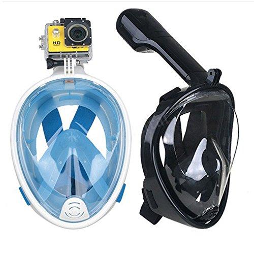 Trocent Tauchmaske, 180° vollgesichte Easybreath Schnorchelmaske mit Anti-Fog und Anti-Leck-Technologie für für GoPro Kamera, Erwachsene, Damen und Herren (Blau, L)