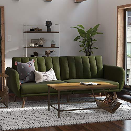 Novogratz Brittany Sofa Futon - Premium Upholstery and Wooden Legs - Green