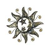 CAPRILO. Adorno Pared Decorativo de Metal Sol Alegre con Estrellas Cuadros y Apliques. Muebles Auxiliares. Decoración Hogar. Regalos Originales. 40 x 1,50 x 40 cm