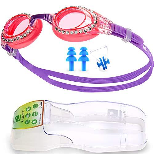 ZABERT K5 Mädchen Kinder Schwimmbrille Schwimmbrillen Taucherbrille Kinderschwimmbrille Chlorbrille für Kinder Kind Junior Jungen 3 4 5 6 7 8 9 10 11 12 Jahre Pink Rosa Lila