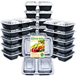 Enther Meal Prep Containers [20 Pack] 2 Compartment with Lids, Food Storage Bento Box | BPA Free |...