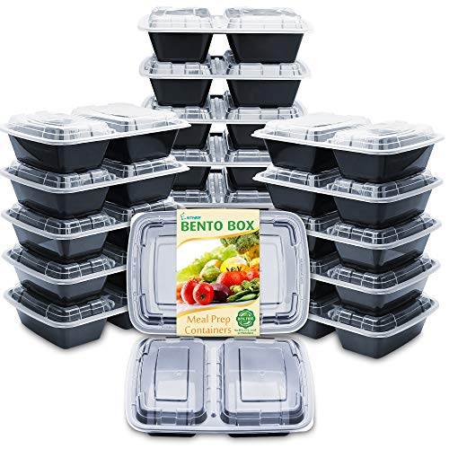 Enther Meal Prep Containers [20 Pack] 2 Compartment with Lids, Food Storage Bento Box | BPA Free | Stackable | Reusable Lunch Boxes, Microwave/Dishwasher/Freezer Safe, Portion Control (32 oz)