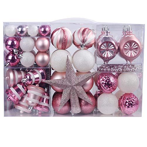 YILEEY Decorazioni Albero di Natale Palline di Plastica Bianco e Rosa 108 Pezzi in 14 Tipi, Scatola di Palline di Natale Infrangibili con Gancio, Ornamenti Decorativi Ciondoli Regali