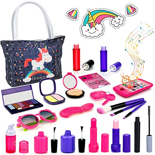 BIMONK 21 PCS Pretend Makeup for Girls, Pretend Play Makeup , Makeup Toy Set Includes Make-up Bag, Lipstick, Eye Shadow, Brush, Gift for Girls to Play Game, Christmas, Birthday Party