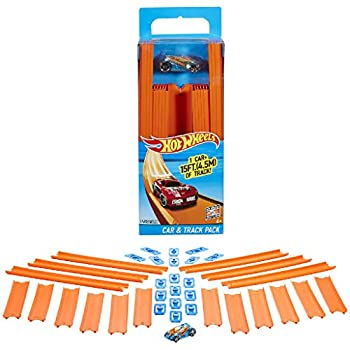 Hot Wheels Track Builder Straight Track with Car 15 Feet [Styles May Vary]