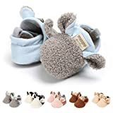 TMEOG Baby Boys Girls Soft Anti-Slip Sole Slipper Booties Infant Toddler First Walkers Shoes Warm Baby Slippers Winter Shoes (A-Gray, 0_Months)