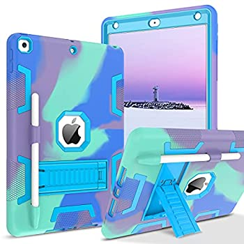 BENTOBEN iPad 8th Generation Case iPad 7th Generation Case iPad 10.2 2020 / 2019 Case 3 in 1 Heavy Duty Rugged Shockproof Kickstand Protective Tablet Case Cover with Pencil Holder Camouflage/Blue