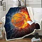 Sviuse Basketball Blanket Sport Sherpa Throw Blue Flame Teens' Soccer Fans Soft Cozy 50'X60' Blanket for Couch Sofa Travel Living Room Bedroom