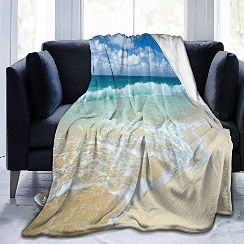 LISNIANY Flanell Fleece Soft Throw Decke,Strand mit schaumigen Wellen auf leerem Meer Shore Holiday Theme Serene Coastal,für Sofas Sofa Stühle Couch Leicht,warm und gemütlich 127x102cm