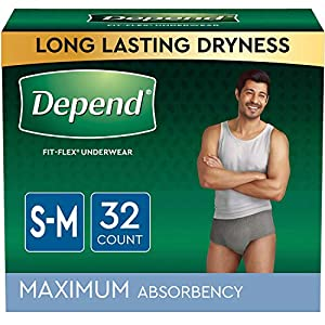 """Depend Fit-Flex Maximum Absorbency Incontinence Underwear with DryShield Technology, provides you all-day comfort, guaranteed*; Available in 4 waist sizes (S/M: 26-34"""", L: 35-43"""", XL: 44-54"""", XXL: 55-64"""") Material absorbs immediately providing long l..."""