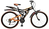 Hercules Topgear CX70 Dual Suspension 18 Speed Bicycle (26T), wheel size: 26 inch, frame size: 19 inch, black, Unisex-Adult