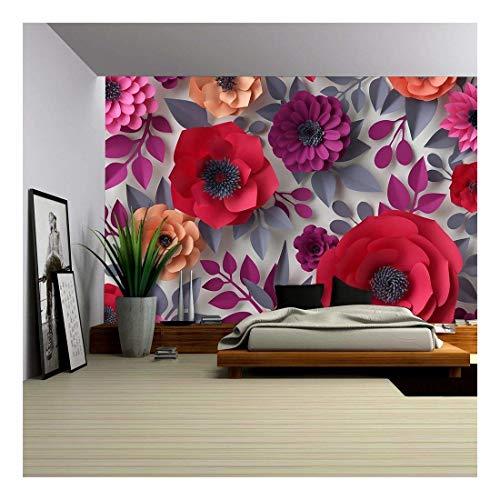 Wall26 - Red Pink Flowers Bridal Bouquet - 3D Canvas Art Wall Decor - 100'x144'