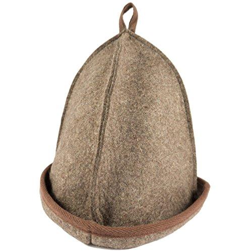 Saunahut - Farbe braun - für kleinen Kopfumfang - 100% Baumwolle - Saunamütze aus Filz für Damen und Herren