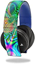 MightySkins Skin Compatible with Sony PS4 Gold Wireless Headset Headphones Sticker Skins Psychedelic