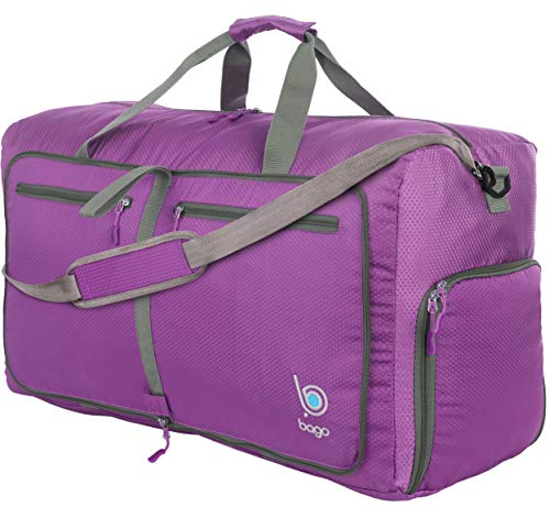 Bago 80L Duffle Bag for Women & Men - 27' Travel Bag Large Foldable Duffel bag (Purple)