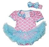Baby-Strampler-Set mit rosafarbenem Tutu-Strampler, elegantes Rosenmuster, Rosa Gr. 3-6 Monate, Rosa, Hellblau
