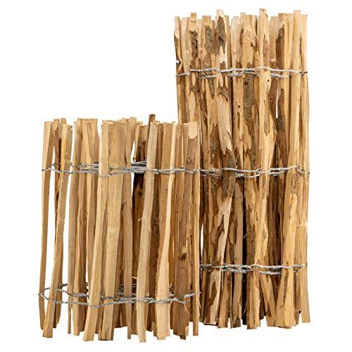 BooGardi Staketenzaun · 12 Größen · 90cm hoch · 5m lang · Lattenabstand 3-5cm · Kastanienzaun aus Haselnuss Gartenzaun Holzzaun