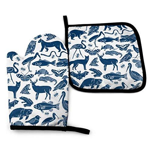 ClownFish Linocut - Juego de manoplas y soporte para ollas, diseño de animales, color azul marino, tela zoológico, animales y guantes para horno y ollas, resistente al calor