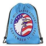9.11ドローストリングバックパックリュックサックショルダーバッグジムバッグを忘れないでください
