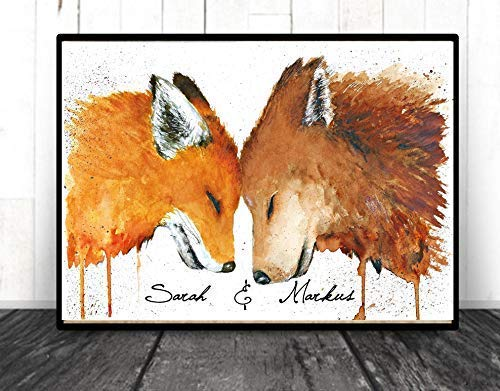 TinyTami Aquarell Kunstdruck Fuchs und Wolf mit Personalisierung - A4 oder A3 Fineart Print Poster Bild Liebe Freundschaft Geschwister Brüder Schwestern Freunde