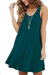 3718737230d Viishow Women s Summer Sleeveless Casual Swing Simple T-Shirt Loose Dresses