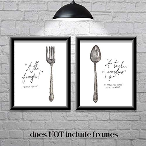 Kitchen Wall Decor-Farmhouse Decor-Italian Sayings-Forever Family-Set of 2 8x10 Prints