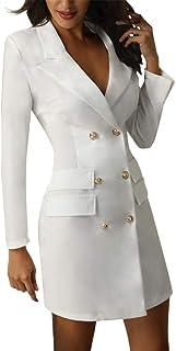 Minetom Damen Blazer Kleid Frauen Elegant Langarm V-Ausschnitt Zweireihig Solide Hemdkleid Business Lange Hülse Büro Jacken Knopf Anzug
