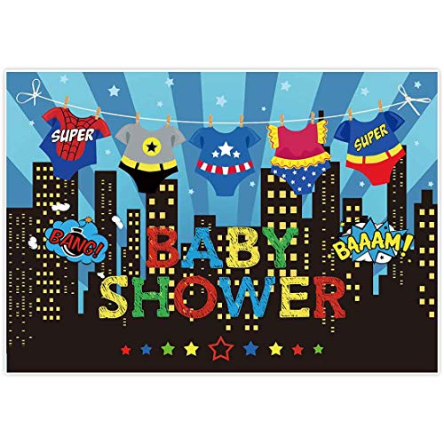 Allenjoy 7x5ft Baby Shower Backdrops Blue Super City Skyline Buildings Children Boy 1st Themed Birthday Photography Party Event Banner Photo Studio Booth Background Baby Shower Photocall