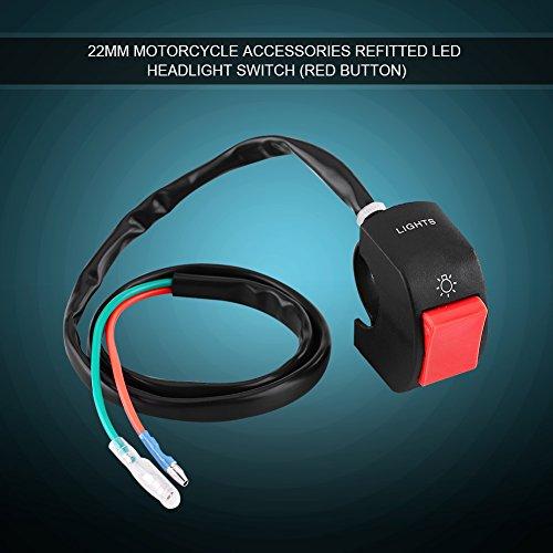Interrupteur de Guidon de Moto Commutateur de Montage de Guidon de Moto Electrique Etanche LED On/Off avec Bouton (Red)