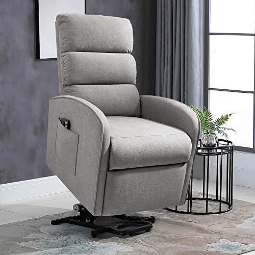 JUMMICO Electric Power Lift Recliner Chair for Elderly with Vibration Massage Fabric Sofa Ergonomic Lounge Chair for Living Room Motorized Classic Single Sofa (Light Gray)