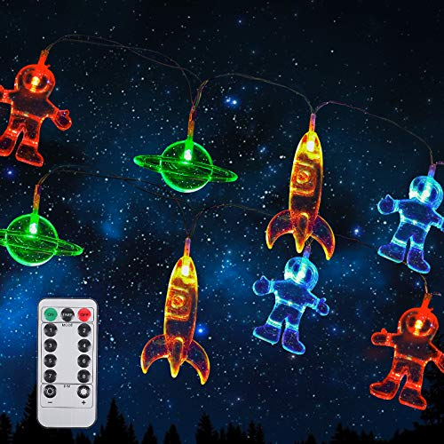 3M 20 LED Astronaut Spaceship Rocket String lights Children's Room LED String Light Holiday Party Lights Wall Window Nursery or Kids room Decor Garden Party Patio Christmas-Multicolor