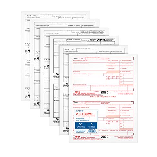TOPS W2 Forms 2020, 6 Part W2 Forms, Laser/Inkjet Tax Form Sets for 50 Employees, Includes 3 W3 Forms (TX22991-20)