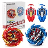 Master Fusion Gyro Burst Toy, 4X Burst Tops Attack Set with Launcher and Grip Starter Set(RED)