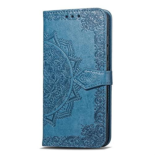 HHF-1 1fortunate Cajas del teléfono para Sony Xperia XA3, tirón de la Carpeta de Cuero de Lujo en Relieve la Caja del teléfono para Sony Xperia XA3 (Color : Azul, Material : For Xperia 5)