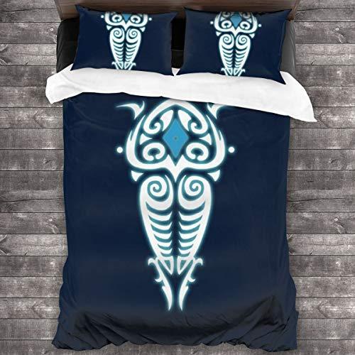 KUKHKU Avatar Legend Of Korra Raava Symbol Juego de ropa de cama de 3 piezas, funda de edredón de 86 pulgadas x 70 cm, juego de cama de 3 piezas decorativas con 2 fundas de almohada
