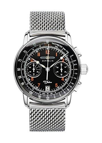 Zeppelin Unisex Chronograph Quarz Uhr mit Leder Armband 7674M-2