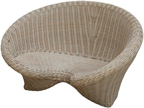 korb.outlet Lotus-Stuhl aus echtem Rattan/Yoga Sitz zur Meditation (Vintage Weiss)