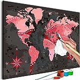 murando - Malen nach Zahlen Weltkarte 60x40 cm Malset mit Holzrahmen auf Leinwand für Erwachsene Kinder Gemälde Handgemalt Kit DIY Geschenk Dekoration n-A-0554-d-a