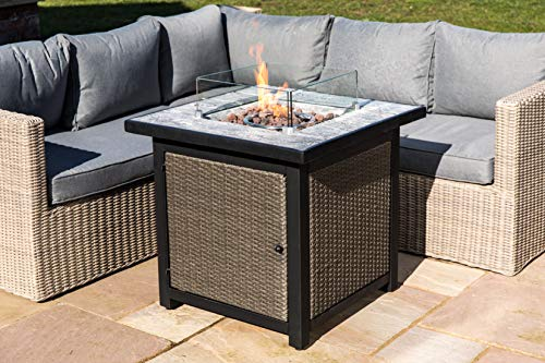 Peaktop Firepit Outdoor Gas Fire Pit Rattan & Concrete, Lava Rock HF25601BA-UK, Stone Grey