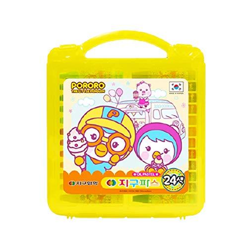 Crayons Set 24 Vibrant Colors School Supplies Kids Coloring Plastic Crayon Box Pororo Design TPPI90950