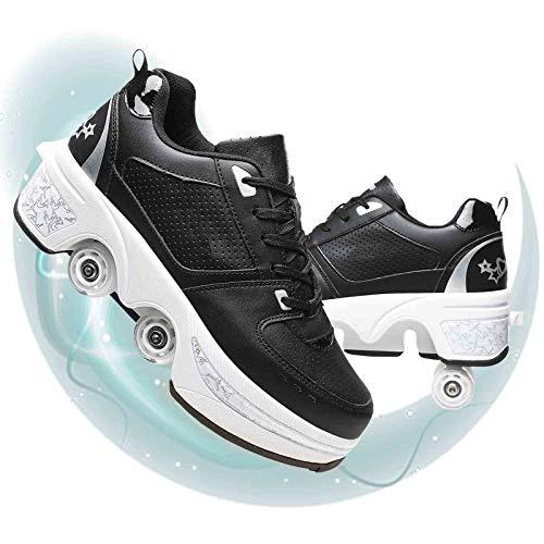 JYHGX Patines De Ruedas Adulto Doble Fila Cuatro Ruedas Skating Zapatos De Rodillo Ajustables Polea Zapatos Multifunción Deformación Calzado para Deportes Al Aire