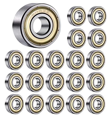 HAHAXIXI 20Pcs 608zz Kugellager , Skateboard Lager, ABEC-7 Metall doppelt abgedichtete geschirmte Miniatur-Tiefnut 608zz Lager für Skateboards.