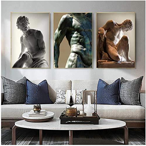 Cuadros de Pared 3x50x70cm sin Marco Hombre Blanco y Negro Escultura Muscular Lienzo Carteles Impresiones Desnudas Cuadros artísticos de Pared para la Sala de Estar Decoración del hogar
