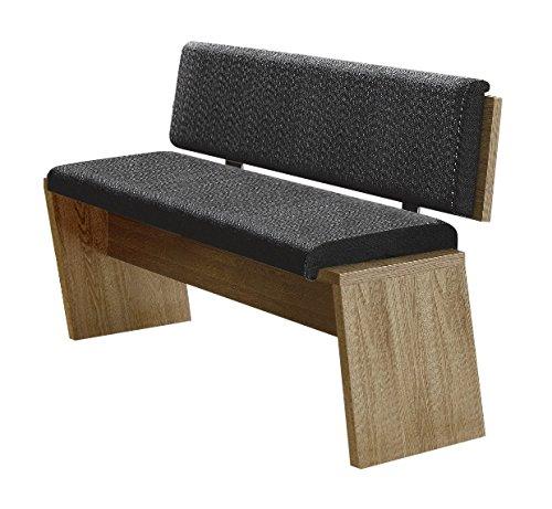 Bianco Sitzbank aus Wildeiche Dekor, bequeme Sitzbank mit Lehne für Ihr Wohn- & Esszimmer, 126 x 83 x 54 cm (B/H/T)